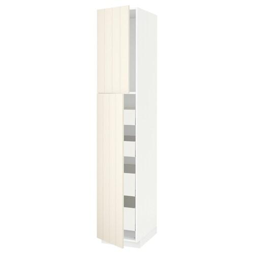 METOD / MAXIMERA hi cab w 2 doors/4 drawers white/Hittarp off-white 40.0 cm 61.8 cm 228.0 cm 60.0 cm 220.0 cm