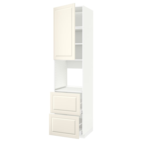 METOD / MAXIMERA High cabinet f oven+door/2 drawers, white/Bodbyn off-white, 60x60x240 cm