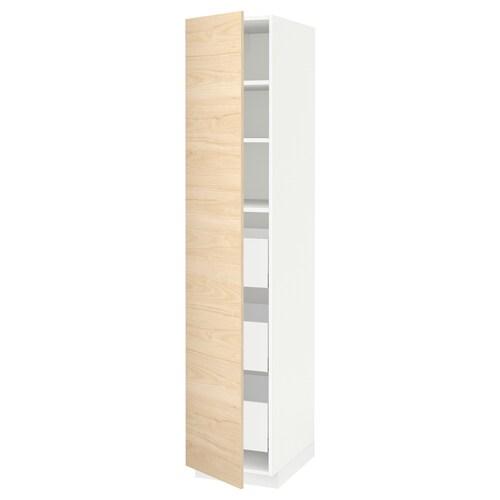 METOD / MAXIMERA high cabinet with drawers white/Askersund light ash effect 40.0 cm 61.6 cm 208.0 cm 60.0 cm 200.0 cm