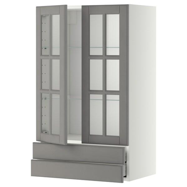METOD / MAXIMERA Wall cab w 2 glass doors/2 drawers, white/Bodbyn grey, 60x100 cm