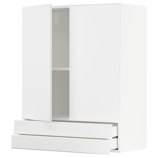 METOD / MAXIMERA Wall cabinet w 2 doors/2 drawers, white/Kungsbacka matt white, 80x100 cm
