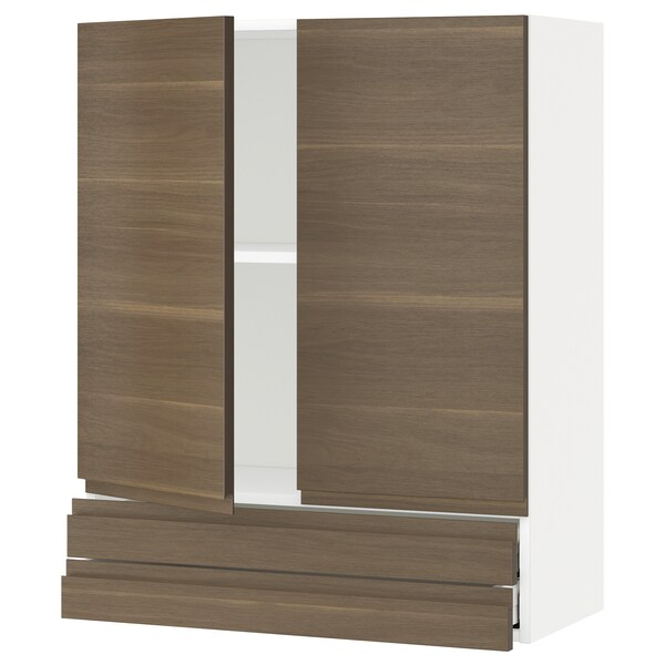 METOD / MAXIMERA wall cabinet w 2 doors/2 drawers white/Voxtorp walnut effect 80.0 cm 39.1 cm 100.0 cm
