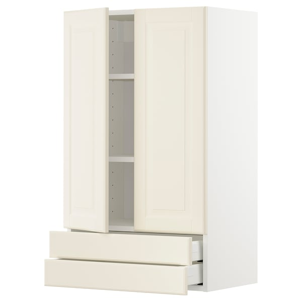 METOD / MAXIMERA wall cabinet w 2 doors/2 drawers white/Bodbyn off-white 60.0 cm 38.6 cm 100.0 cm