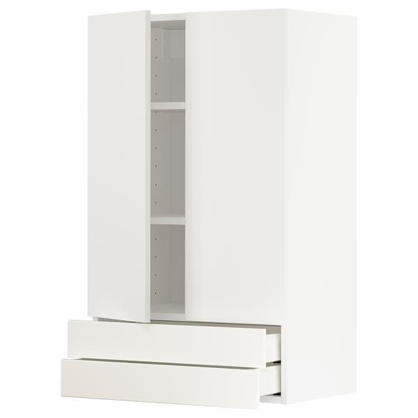 METOD / MAXIMERA wall cabinet w 2 doors/2 drawers white/Häggeby white 60.0 cm 38.6 cm 100.0 cm