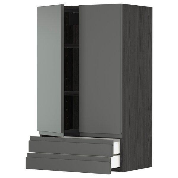METOD / MAXIMERA wall cabinet w 2 doors/2 drawers black/Voxtorp dark grey 60.0 cm 38.6 cm 100.0 cm