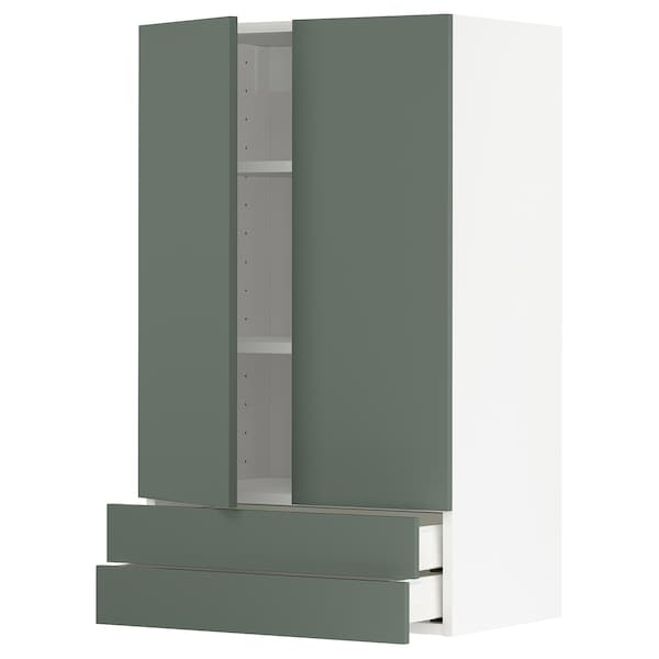 METOD / MAXIMERA wall cabinet w 2 doors/2 drawers white/Bodarp grey-green 60.0 cm 38.6 cm 100.0 cm