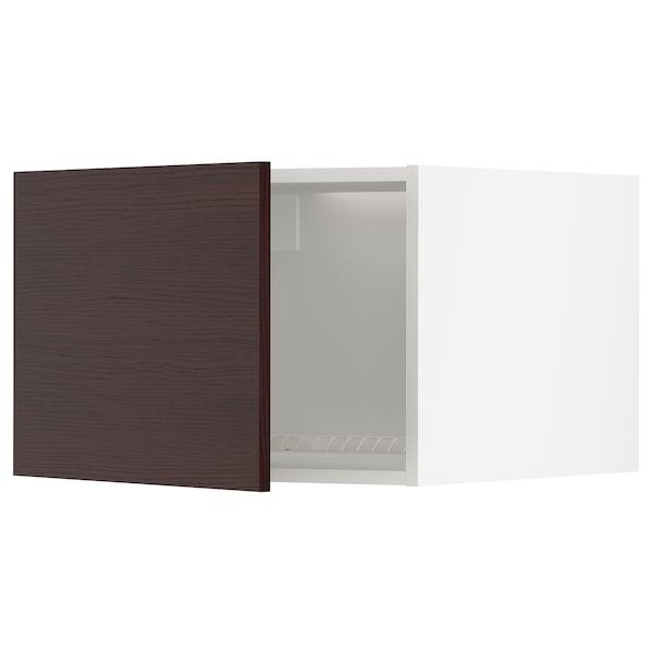 METOD Top cabinet to fridge/freezer, white Askersund/dark brown ash effect, 60x40 cm