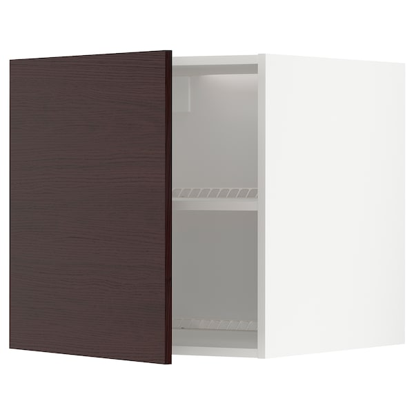 METOD Top cabinet to fridge/freezer, white Askersund/dark brown ash effect, 60x60 cm