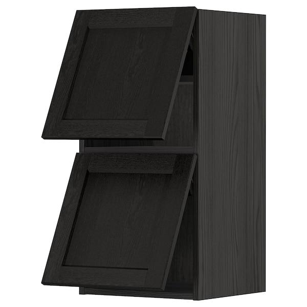 METOD Wall cab horizo 2 doors w push-open, black/Lerhyttan black stained, 40x80 cm