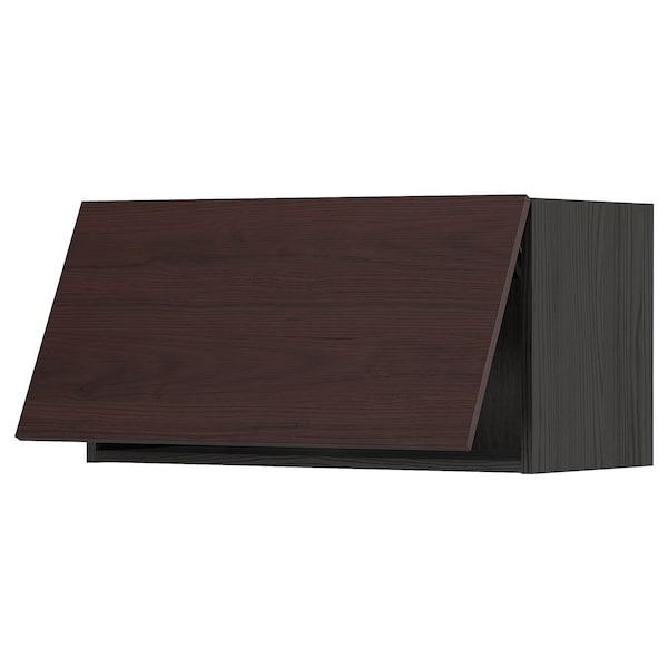 METOD Wall cabinet horizontal w push-open, black Askersund/dark brown ash effect, 80x40 cm