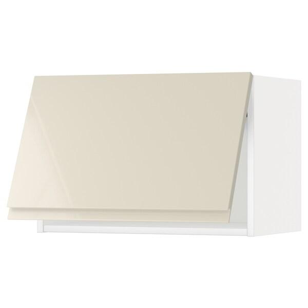 METOD wall cabinet horizontal white/Voxtorp high-gloss light beige 60.0 cm 39.1 cm 40.0 cm