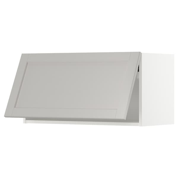 METOD wall cabinet horizontal white/Lerhyttan light grey 80.0 cm 38.6 cm 40.0 cm