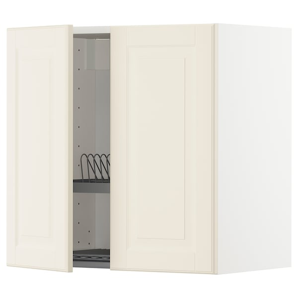 METOD Wall cabinet w dish drainer/2 doors, white/Bodbyn off-white, 60x60 cm