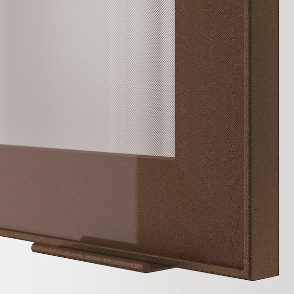 METOD Wall cabinet w shelves/2 glass drs, black/Skövde dark bronze effect, 80x100 cm