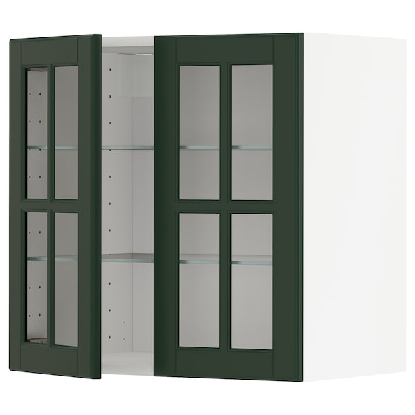 METOD Wall cabinet w shelves/2 glass drs, white/Bodbyn dark green, 60x60 cm