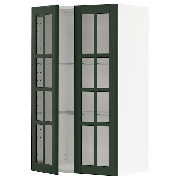 METOD Wall cabinet w shelves/2 glass drs, white/Bodbyn dark green, 60x100 cm
