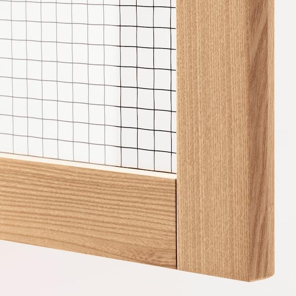 METOD Wall cabinet w shelves/2 glass drs, white/Torhamn ash, 40x100 cm