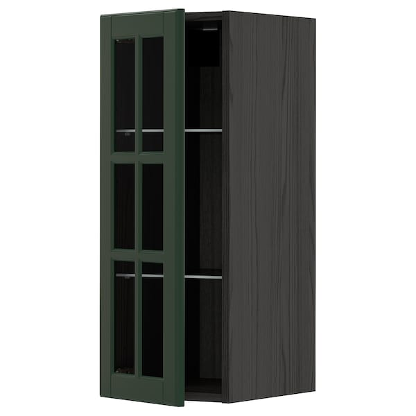 METOD Wall cabinet w shelves/glass door, black/Bodbyn dark green, 30x80 cm