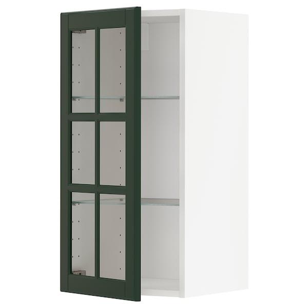METOD Wall cabinet w shelves/glass door, white/Bodbyn dark green, 40x80 cm