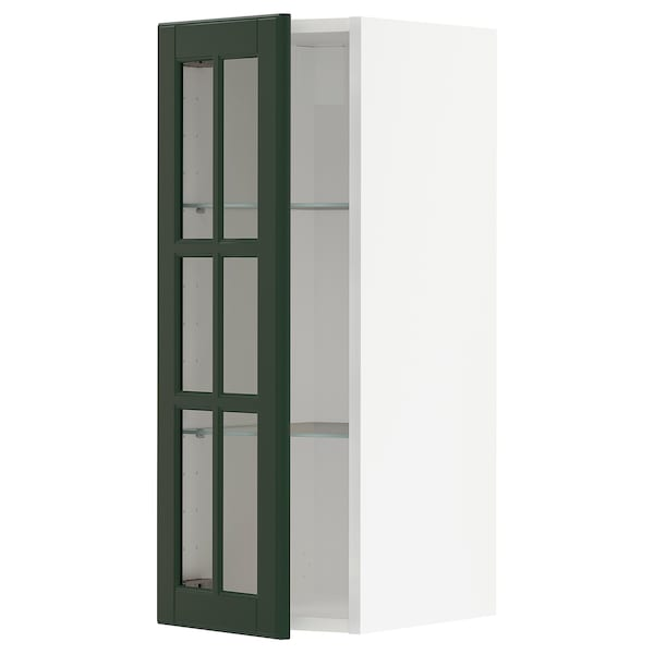 METOD wall cabinet w shelves/glass door white/Bodbyn dark green 30.0 cm 38.6 cm 37.0 cm 80.0 cm