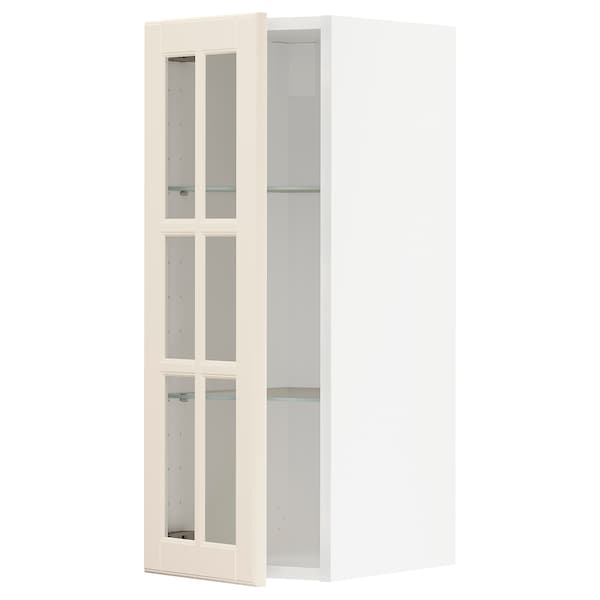 METOD wall cabinet w shelves/glass door white/Bodbyn off-white 30.0 cm 38.6 cm 37.0 cm 80.0 cm