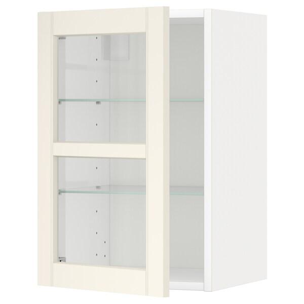 METOD Wall cabinet w shelves/glass door, white/Hittarp off-white, 40x60 cm