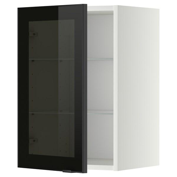 METOD Wall cabinet w shelves/glass door, white/Jutis smoked glass, 40x60 cm