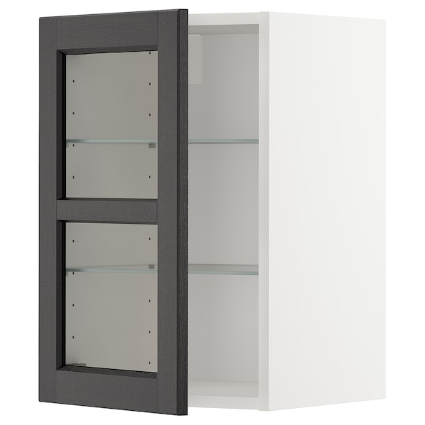 METOD Wall cabinet w shelves/glass door, white/Lerhyttan black stained, 40x60 cm