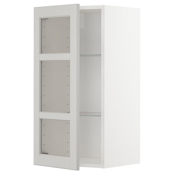 METOD Wall cabinet w shelves/glass door, white/Lerhyttan light grey, 40x80 cm