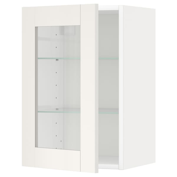 METOD Wall cabinet w shelves/glass door, white/Sävedal white, 40x60 cm