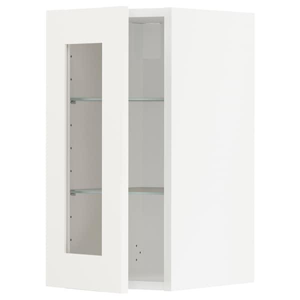 METOD Wall cabinet w shelves/glass door, white/Sävedal white, 30x60 cm