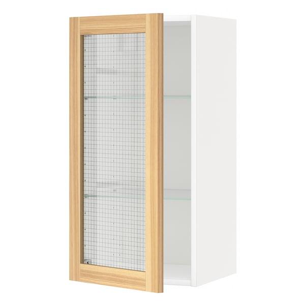 METOD Wall cabinet w shelves/glass door, white/Torhamn ash, 40x80 cm