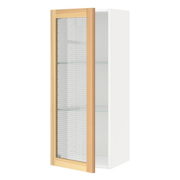 METOD Wall cabinet w shelves/glass door, white/Torhamn ash, 40x100 cm