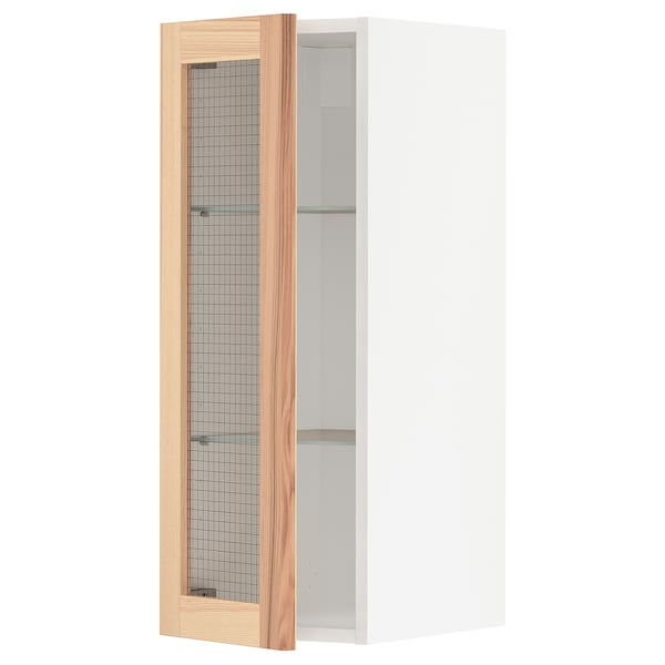 METOD wall cabinet w shelves/glass door white/Torhamn ash 30.0 cm 38.6 cm 37.0 cm 80.0 cm