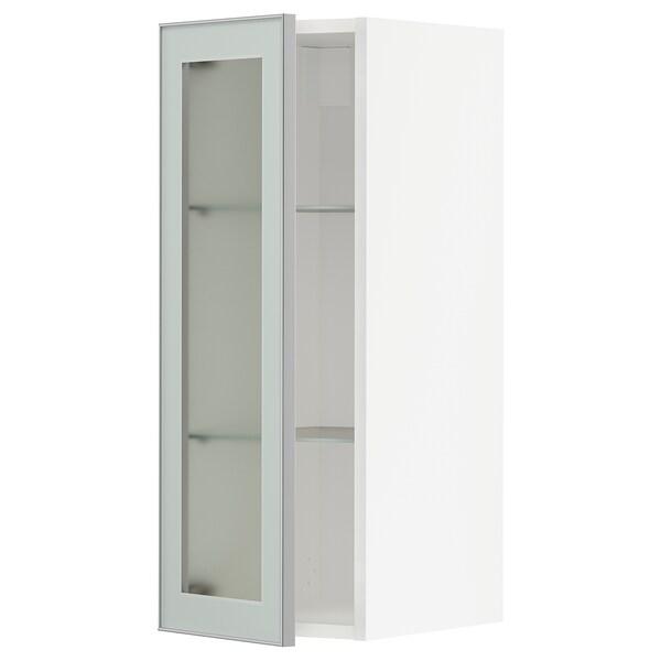 METOD wall cabinet w shelves/glass door white/Jutis frosted glass 30.0 cm 38.6 cm 37.0 cm 80.0 cm