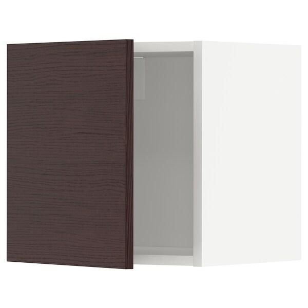 METOD Wall cabinet, white Askersund/dark brown ash effect, 40x40 cm