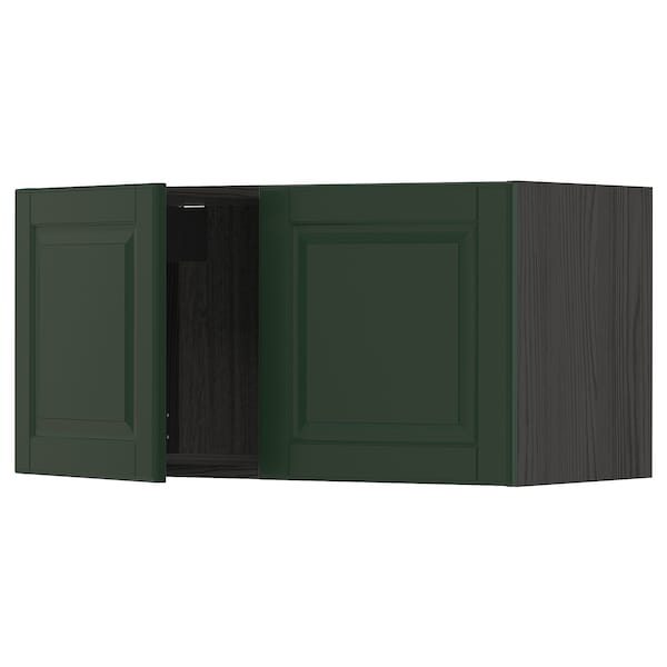 Metod Wall Cabinet With 2 Doors Black Bodbyn Dark Green
