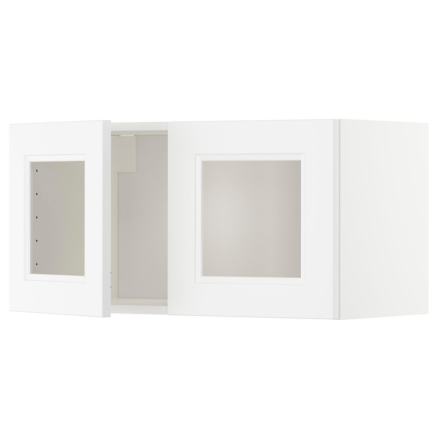 Metod Wall Cabinet With 2 Glass Doors Whiteaxstad Matt White 80 X