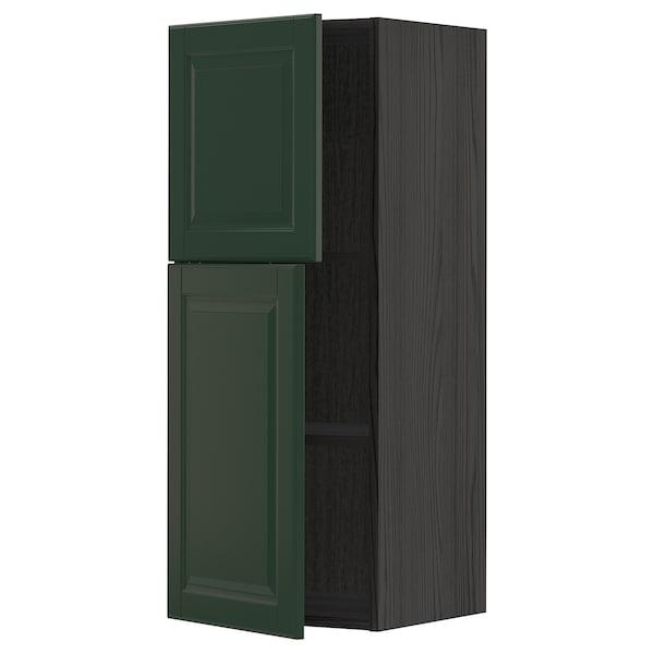 METOD Wall cabinet with shelves/2 doors, black/Bodbyn dark green, 40x100 cm