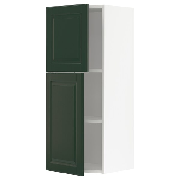 METOD Wall cabinet with shelves/2 doors, white/Bodbyn dark green, 40x100 cm