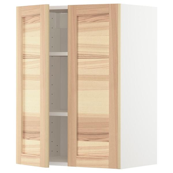 METOD Wall cabinet with shelves/2 doors, white/Torhamn ash, 60x80 cm