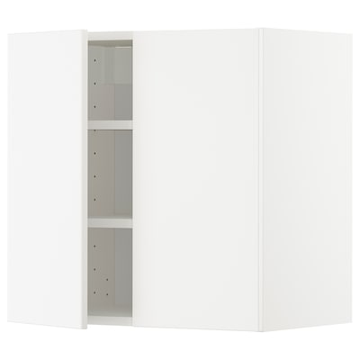 METOD Wall cabinet with shelves/2 doors, white/Veddinge white, 60x60 cm