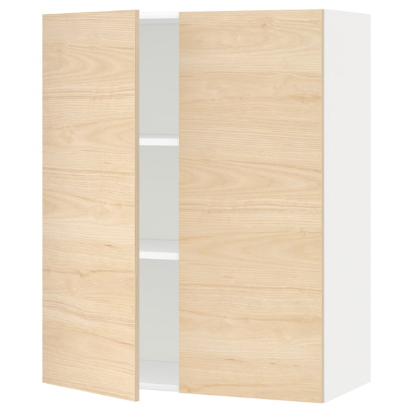METOD wall cabinet with shelves/2 doors white/Askersund light ash effect 80.0 cm 38.6 cm 100.0 cm