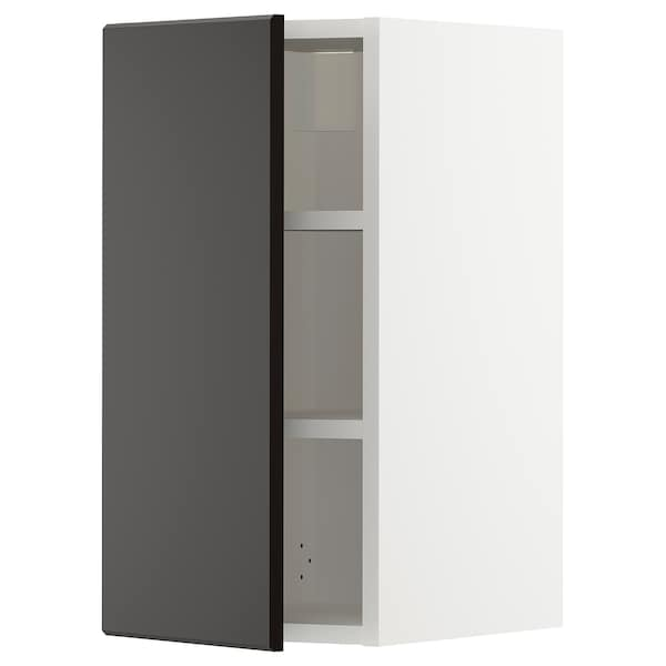 METOD Wall cabinet with shelves, white/Kungsbacka anthracite, 30x60 cm
