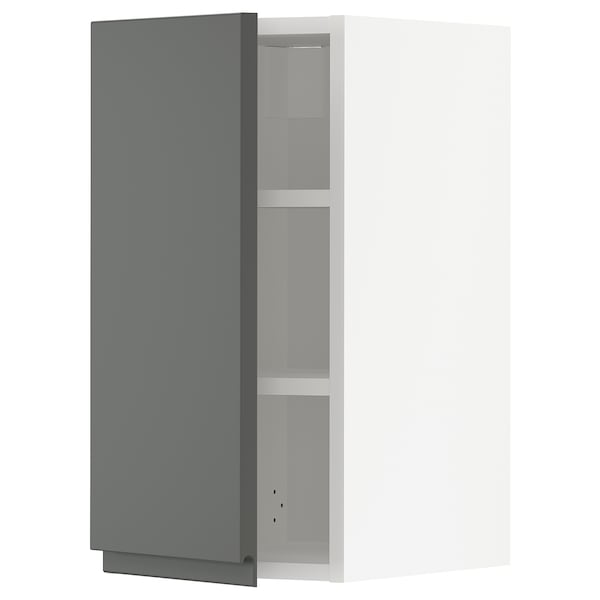 METOD Wall cabinet with shelves, white/Voxtorp dark grey, 30x60 cm