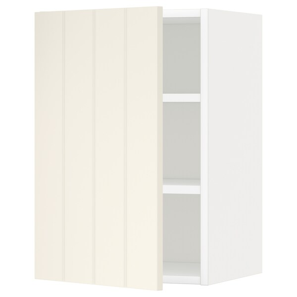 METOD wall cabinet with shelves white/Hittarp off-white 40.0 cm 38.8 cm 60.0 cm