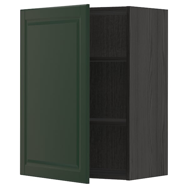 METOD Wall cabinet with shelves - black, Bodbyn dark green ...