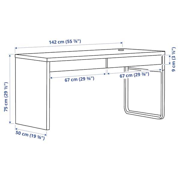 MICKE Desk, black-brown, 142x50 cm