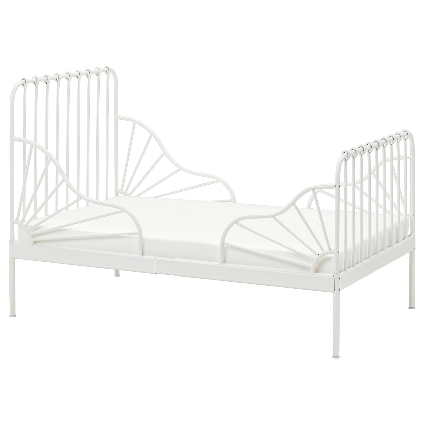 Picture of: Minnen Ext Bed Frame With Slatted Bed Base White Ikea