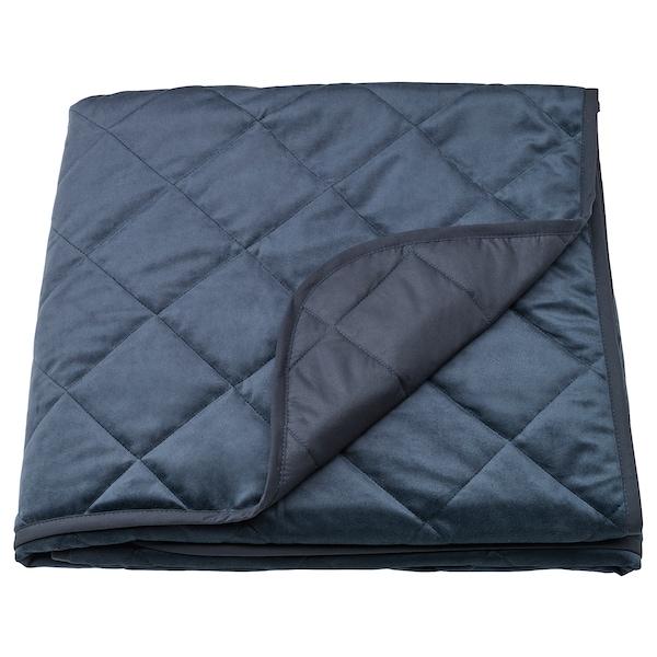 MJUKPLISTER Bedspread, dark blue, 160x250 cm